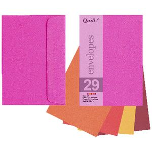 Quill C6 Envelopes Hot Assorted 25 Pack