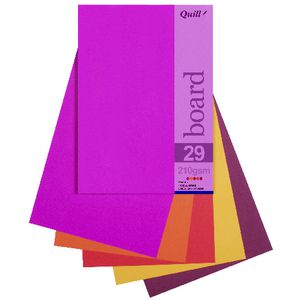 Quill A5 210gsm Board Hot Assorted 25 Pack