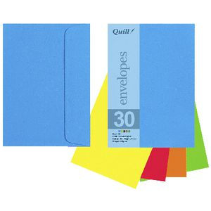 Quill C6 Envelopes Brights Assorted 25 Pack