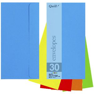 Quill DL Envelopes Brights Assorted 25 Pack