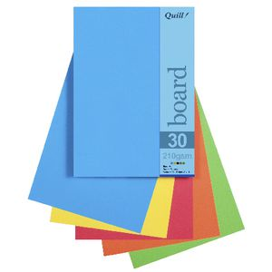 Quill A5 210gsm Board Bright Assorted 25 Pack