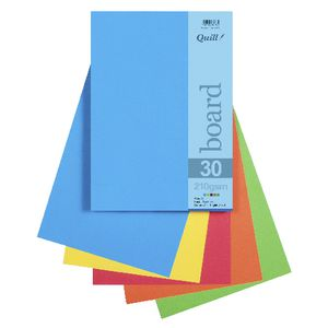 Quill A4 210gsm Board Bright Assorted 25 Pack