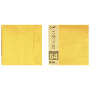 Quill 150mm Square Envelopes Metallique Antique Gold 10 Pack