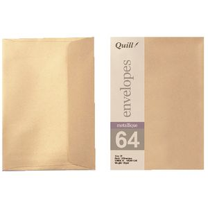 Quill C6 Envelopes Metallique Autumn Gold 10 Pack
