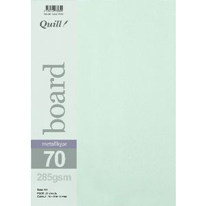 Quill Metallique Board 285gsm A4 Mint Green 25 Pack