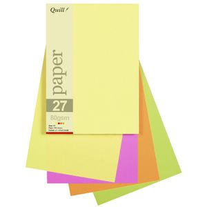 Quill A5 Paper Fluoro Assorted 250 Pack