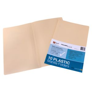 Quill Foolscap Manilla Folders Plastic 10 Pack