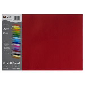 Quill XL MultiBoard 210gsm A3 Red 5 Pack