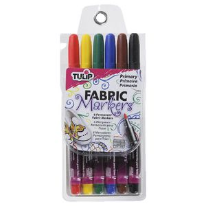 Tulip Fine Tip Fabric Markers 6 Pack Primary