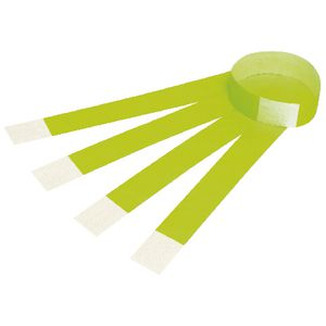 Rexel Fluoro Wrist Bands Green 100 Pack