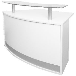 Rapidline Modular Reception Counter White/Glass at Officeworks in Campbellfield, VIC | Tuggl