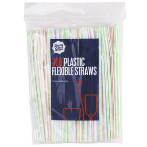 Ready Set Serve Plastic Disposable Straws Coloured 200 Pack