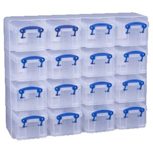 Really Useful Box 0.3L Organiser Clear 16 Pack