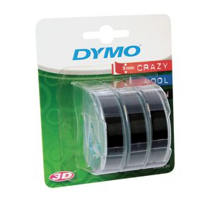 DYMO Embossing Label Tape 9mm x 3m Black 3 Pack