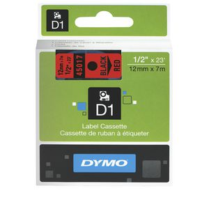DYMO D1 Label Tape 12mm x 7m Black on Red