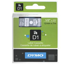 DYMO D1 Label Tape 12mm x 7m White on Clear