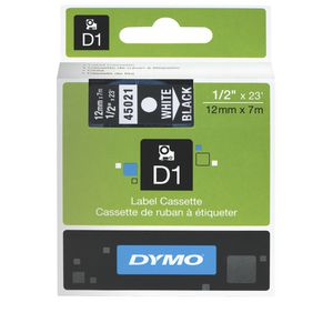 DYMO D1 Label Tape 12mm x 7m White on Black