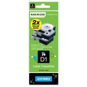 DYMO D1 Label Tape 12mm x 7m Black on Clear 2 Pack