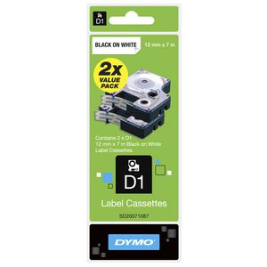 DYMO D1 Label Tape 12mm x 7m Black on White 2 Pack