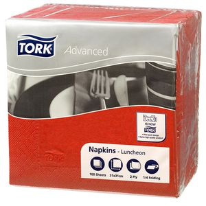 Tork 2 Ply Advanced Luncheon Napkins Red 1800 Pack