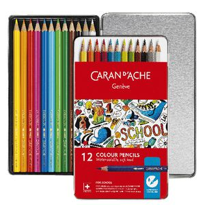 Caran d'Ache Water Soluble Colour Pencils Tin of 12