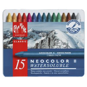 Caran d'Ache Neocolor Water Soluble Wax Pastels 15 Pack