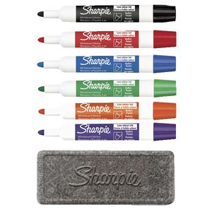 Sharpie Whiteboard Markers with Eraser Assorted 6 Pack