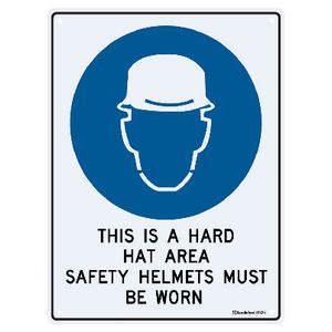 Sandleford Hard Hat Area Sign 22.5 x 30cm