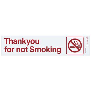 Sandleford Thankyou for Not Smoking self-adhesive Sign White
