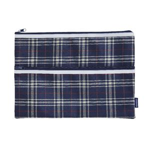 Studymate Large Pencil Case Blue Tartan