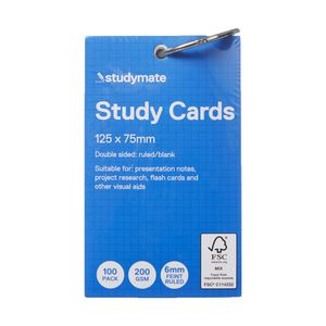Studymate Study Cards Ruled 127 x 76mm White 100 Pack