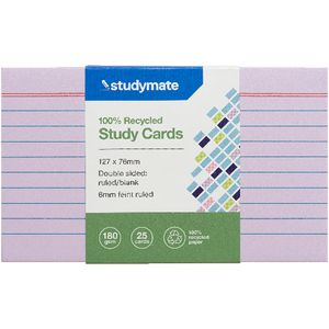 Studymate Study Cards Ruled 127 x 76mm Purple 25 Pack