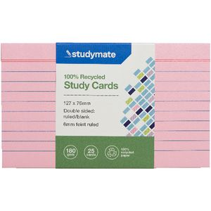 Studymate Study Cards Ruled 127 x 76mm Pink 25 Pack