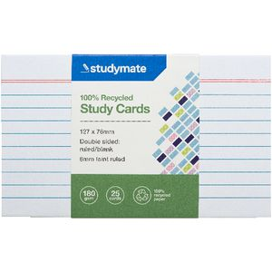 Studymate Study Cards Ruled 127 x 76mm White 25 Pack