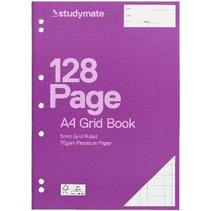 Studymate A4 Grid Binder Book 5mm 128 Page
