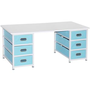 6 Basket Table White Blue