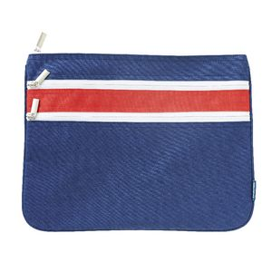 Studymate Triple Zip Pencil Case Large 2 Tone Navy