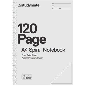 Studymate Premium Clear PP Spiral 8mm Notebook 120 Page