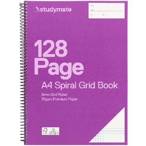 Studymate Premium A4 PP Spiral Grid Book 128 Page