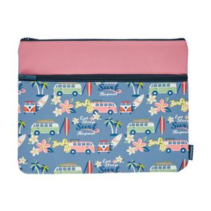 Studymate Twin Zip Pencil Case Large Surf Blue