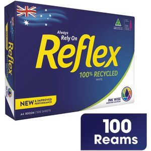 Reflex 100% Recycled 80gsm A4 Copy Paper 100 Ream Pallet