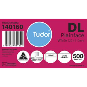 Tudor DL Plainface Pocket Envelopes 110x220mm White 500 Pack
