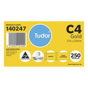Tudor C4 Kraft Pocket Envelopes 250 Pack