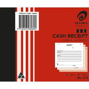 Olympic No. 615 Cash Receipt Book Carbon Triplicate 100 Leaf