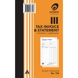 Olympic No. 724 Carbonless Invoice and Statement Book 50 Page