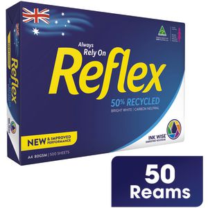 Reflex 50% Recycled 80gsm A4 Copy Paper Half Pallet