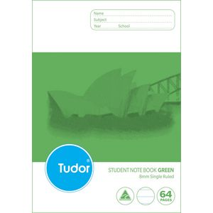 Tudor NSW Landscape Exercise Book Lime Green 64 Page