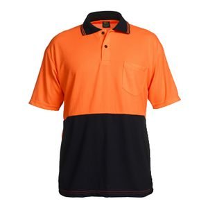 Unisafe High Visibility Polo Shirt M Orange and Navy