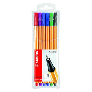 Stabilo Point 88 Fineliners Assorted 6 Pack