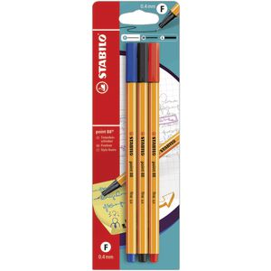 Stabilo Point 88 Fineliners Assorted 3 Pack